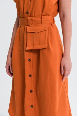 Belted Midi Orange Shirt Dress
