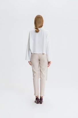 Buttoned  Beige Trouser