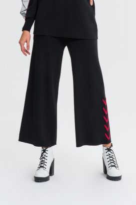 Black Red Stripes Wide Trouser