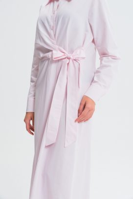 Pink Belted Shirt Dress