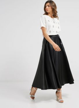 Satin Maxi Skirt Black