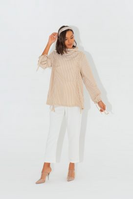 High Neck Beige Blouse
