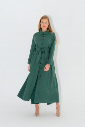 Green Maxi Shirt Dress