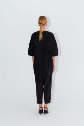 Short Sleeves Black  Blouse
