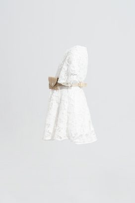 Belted Off White Dress