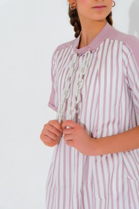 Half Sleeves Striped Dress