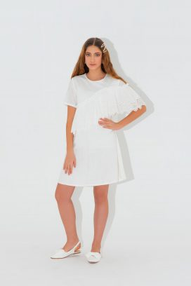 Half Sleeves White Dress