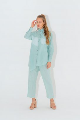 High Low Mint  Shirt