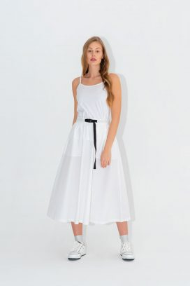 Off White Maxi Elastic Skirt
