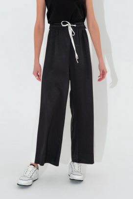 Wide Strapped Black Trouser