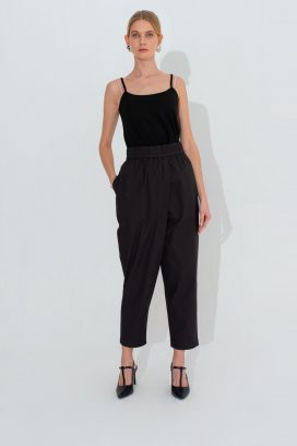 Wide Elastic Black Trouser