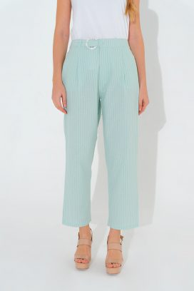 Striped Belted Mint Trouser