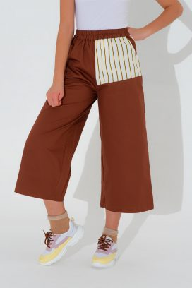 Brown  Wide Elastic  Trouser