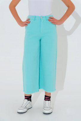 Wide Blue Buttoned Trouser