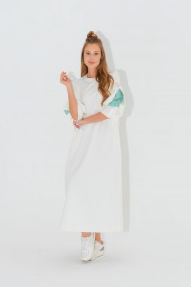 Full Sleeves Off white Dress
