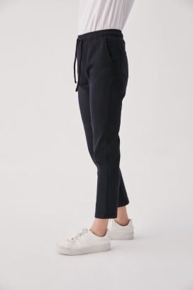 Elastic Black Denim Trouser