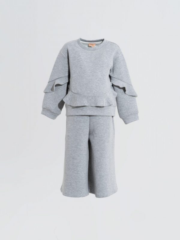 kids trouser Wide Solid Grey Trouser