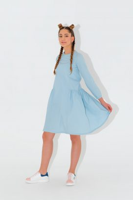 Full Sleeves Blue Dress