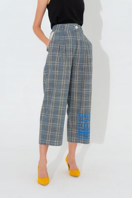 Multi Checks Wide Trouser