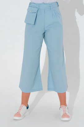 Wide Cut Blue Trouser