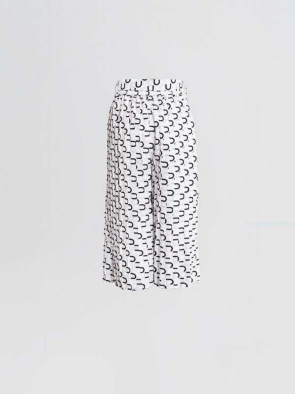 kids trouser Print Pleated White Trouser