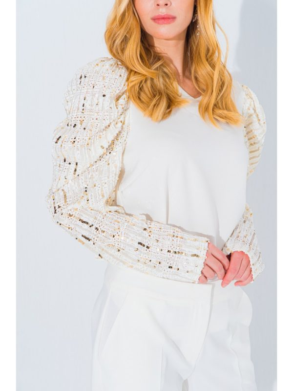 Women Blouse SHIMMER SLEEVE CREPE BLOUSE