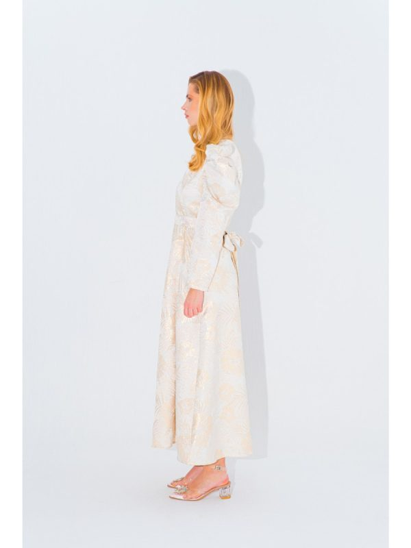 PUFF SLEEVE JACQUARD DRESS