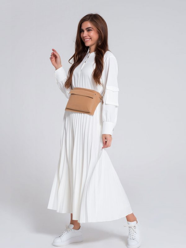 Eleganza Concept CREPE MAXI DRESS Product OFF WHITE Color
