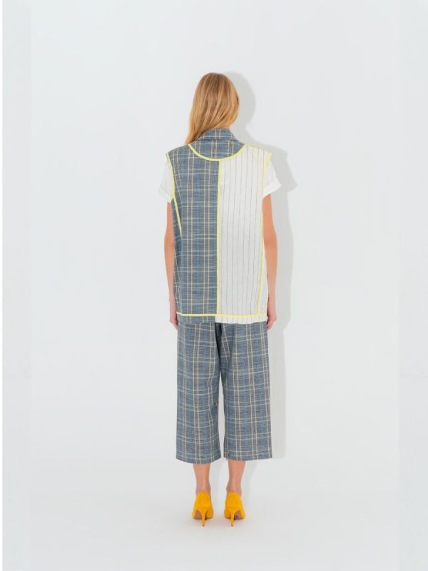 Women Vest CHECK PANELED SMART VEST