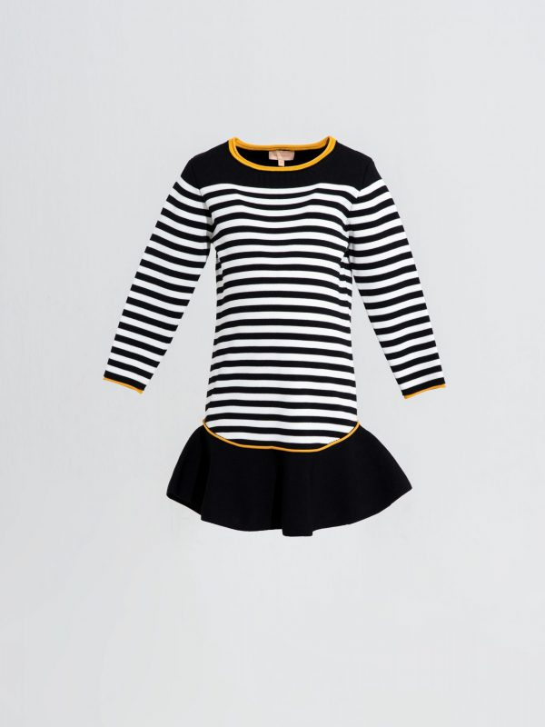 Teen Dress KNITWEAR Full Sleeves Stripped Dress